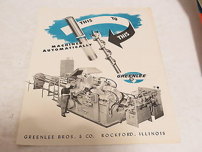* Vintage Greenlee Machined Automatically Machinist Brochure *