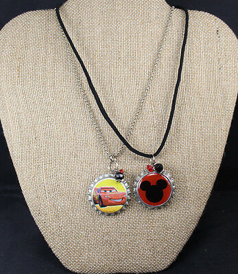 Lot of Two Mickey Mouse & McQueen Inspired Bottle Cap Necklace for Boy or Girl