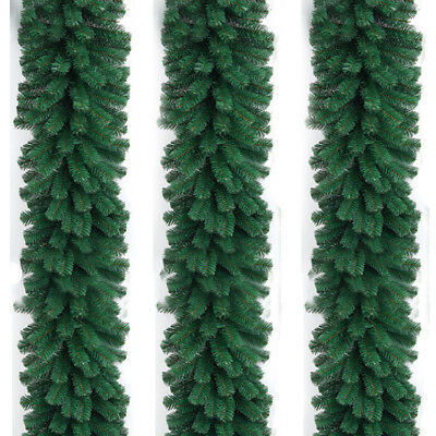2.7M 280 Branch Long Christmas Garland Pine Wreath Thick Fireplace Cane Green
