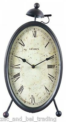 Rustic Metal Oval Mantel Clock Retro Industrial Desk Clock - French Provincial