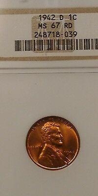 1942 D 1C Lincoln Wheat Cent  NGC MS67 RD