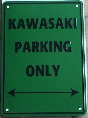 Metal Kawasaki only parking sign motorcycle