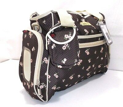 """Diaper Changing Bag, Brown with Pink Flowers """"Love is"""" Model by Skinly"""