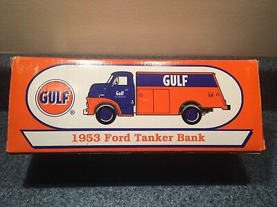 New Never Used Or Opened 1998 Gulf 1953 Ford Tanker Bank Ertl Die-Cast 1:25 Mint