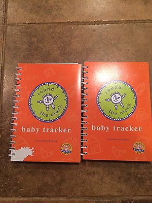 2 NEW BABY TRACKER BOOKS: 6 Months/24 Hours - Round the Clock Log Book/Journal