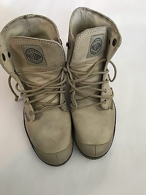 Palladium Women's 7 Ivory Leather Ankle Boots NICE!!
