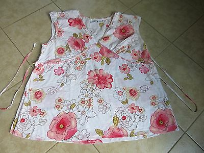 BUNDLE OF JOY Sleeveless Top Size L White with Pink Flowers EXCELLENT!