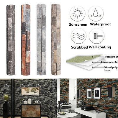 10m Modern PVC 3D Brick Stone Textured Mural Art Roll Wallpaper Background Decor