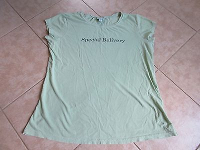 MIMI MATERNITY Short Sleeve Top Size S Green with Cute Saying EXCELLENT!