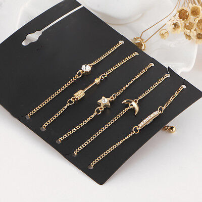 5Pcs Women Fashion Star Moon Arrow Set Jewery Gifts Anklet Crystal Bracelet