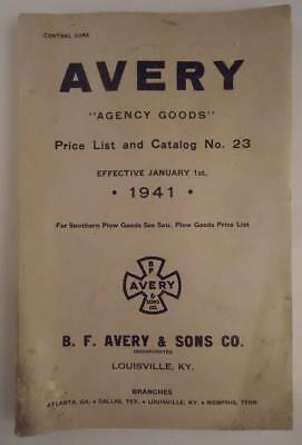 Vtg 1941 B.F. Avery Moline Agency Goods Tractor Implements Machinery Catalog KY