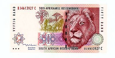 """South Africa ... P-125c ... 50 Rand ... ND(1992) ... Ch*UNC* Sign """"8""""."""