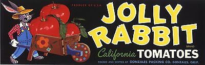 Crate Label Vintage Jolly Rabbit Cartoon Fantasy Gonzales 1950S Bunny Original