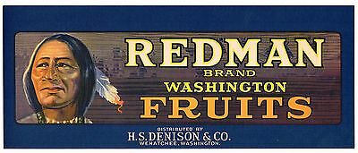 Original Crate Label Vintage Redman American Indian Wenatchee 1/2 Box Scarce