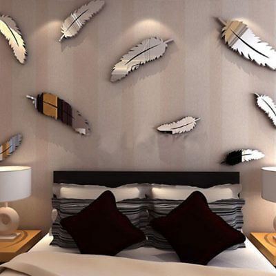 8Pcs/ Set DIY 3D Feathers Wall Sticker Mirror Wallpaper Room Decor Home Decal