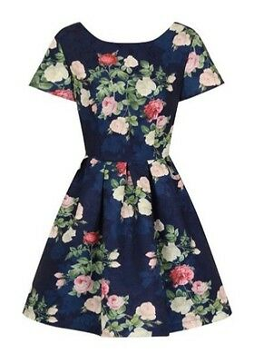 Chi Chi London Navy Floral Print Mini Dress Size 10