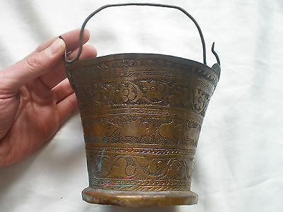 Antique Ottoman Rare Old Islamic Turkish Copper Pail Hand Engraving 1850 Lovely
