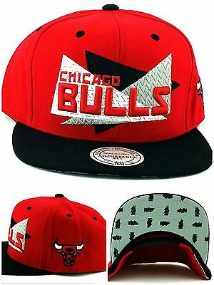 low priced 3f784 1afdc Chicago Bulls New Mitchell   Ness Jordan Triangle Red Black Era Snapback  Hat Cap