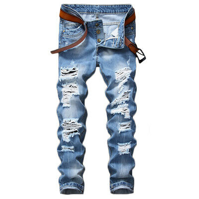 Men Light Blue Ripped Distressed Straight Jeans Distroyed Slim Fit Denim Pants