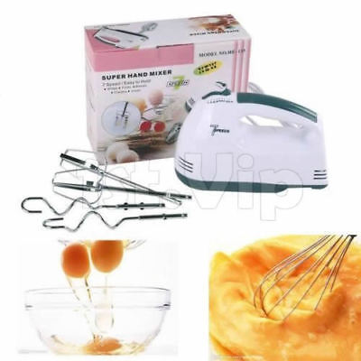 Electric Super Mixer Hand Whisk Food Beater 7-speed Selectors 2 Beaters UK