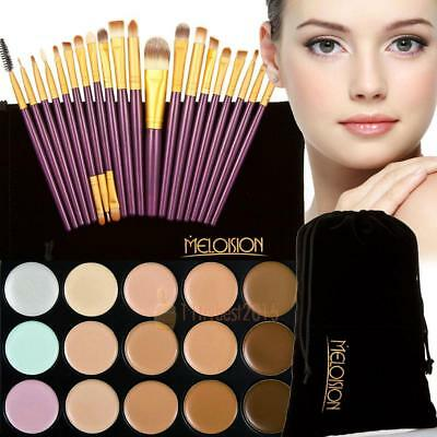 15 colores Contour crema facial Makeup Concealer Palette + 20pcs Brushes Set