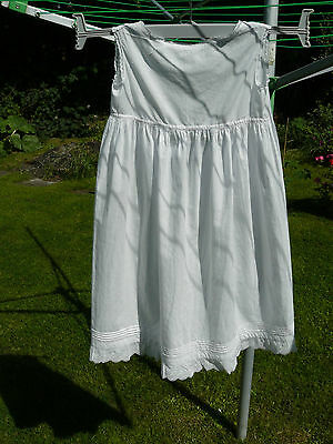 Vintage Edwardian white cotton baby / child / doll sleeveless petticoat c1910's