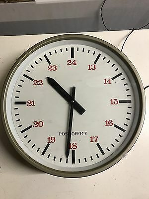 """Vintage Electric 24hr Post Office 12"""" Dia Slave Clock Red Numbers"""