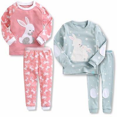"Vaenait Baby Toddler Kids Girls Clothes Pajama Set ""Heeling Blanc Rabbit"" 12M-7T"