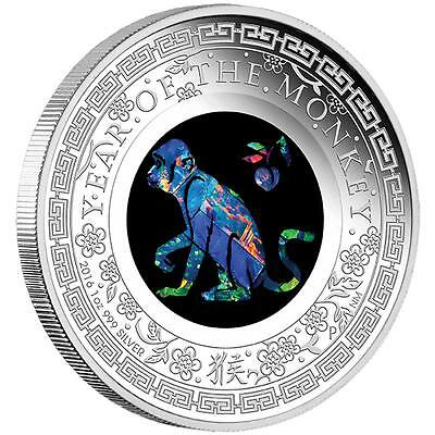 2016 $1 Australian Opal - Lunar Monkey 1oz Silver Proof Coin NUMBERED: 344