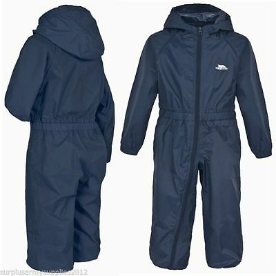 Kids Trespass All In One Rainsuit Navy Blue Splash Puddle Suit Boys Toddler Baby