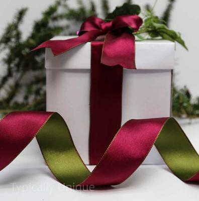 Christmas Ribbon Quality  Plum Green Wire Edged Gift Wrapping  'Petra'