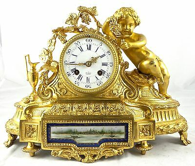 Antique French Empire 19thc gilt ormolu bronze & Sevres mantle clock by Vincenti