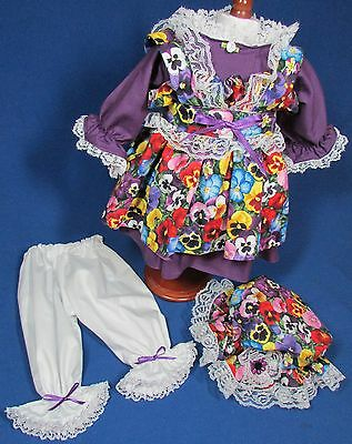 Handmade Four Piece Purple Pansies - Raggedy Ann Outfit – 18-20 Inches