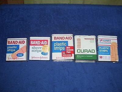 Lot 3 Vintage Band-Aid Bandage Tins + Curad + Perry Drug Stores Metal Hinge Lids