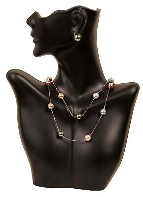 HalfBody Mannequin Jewelry Holder for Necklace Display Earring Bust Decor Black