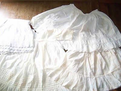 ANTIQUE CLOTHING salvage childrens baby lace linen edging hand made