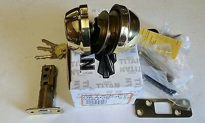 Kwikset Titan 785 RCAL US 3 Polished Brass Double Cylinder Deadbolt