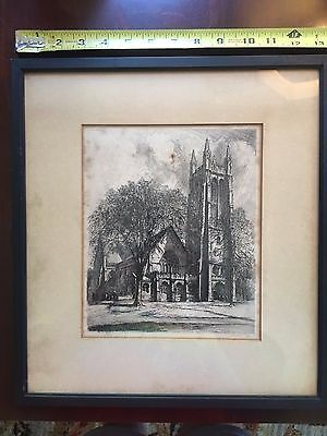 RARE SIGNED Louis Orr Etching Princeton University Chapel NEW JERSEY LISTED
