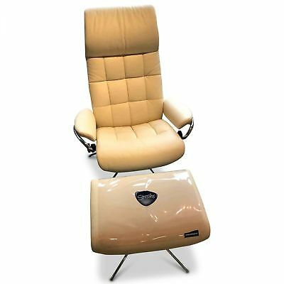 Stressless Designer Sessel London Mit Hocker Leder Metall Grau