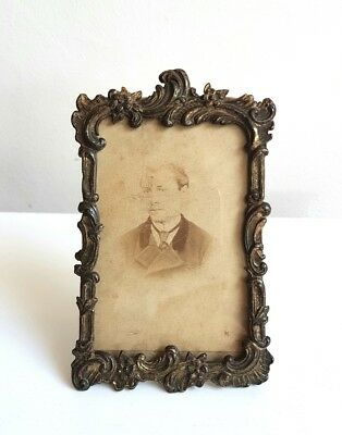 French Antique c1920 Gilt Brass Picture Photo Frame Rococo Style