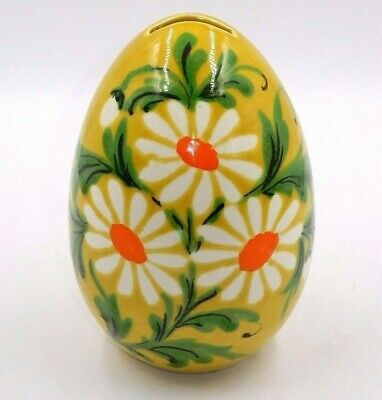 "Vintage 1972 Signed Pottery Yellow Floral Ceramic Egg 7.5"" Still Coin Bank"
