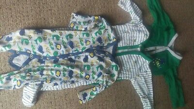 Mothercare sleep suits bundle 6-9 m dinosaurs print
