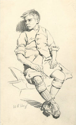 W. R. Hay - Signed c. 1913 Graphite Drawing, Portrait of a Young Boy