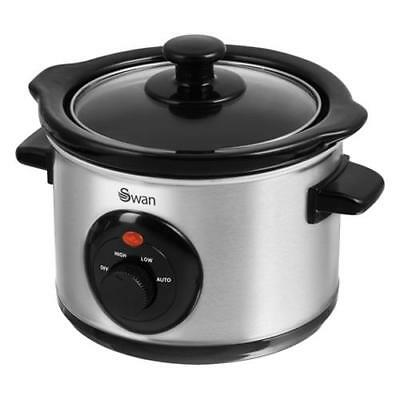 Swan Small Mini Slow Cooker - Stainless Steel 1.5L SF17010N
