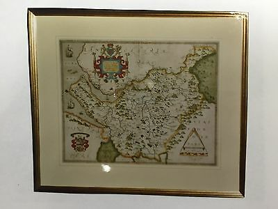 Original Christopher Saxton map of Cheshire 1577