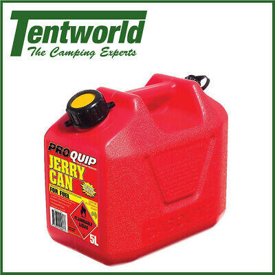 Proquip Plastic Jerry Can Petrol Diesel Fuel Red Camping Essentials 5L
