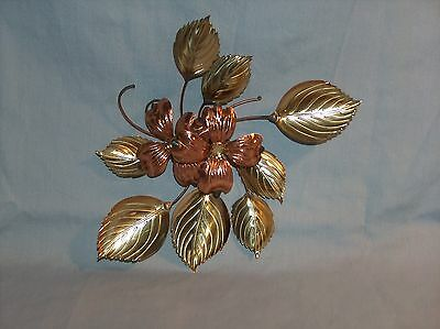 """Homco Home Interiors Metal Gold Tone Leaf Cluster Wall Hanging Decor 8-1/2"""" x 7"""""""