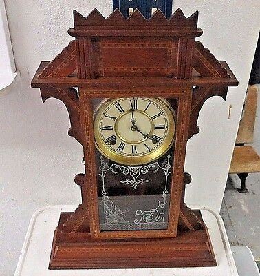 ANTIQUE RARE WATERBURY 1900's SUSSEX WALNUT PARLOR SHELF CLOCK WORKING WELL !!!