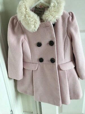 girls pink next Fur Collar coat 18-24 Months