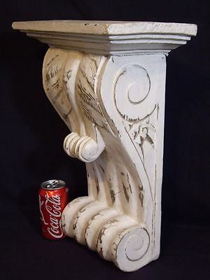 Large Antique Carved Wood Corbel Bracket Wall Shelf White 18""
